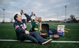 Jessica and aaron tailgating engagement session football field