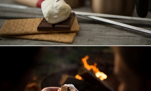 engagement ring in smores at campfire engagement