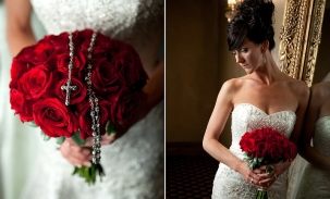 rosary in bridal bouquet