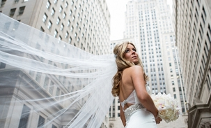 Karolina-wedding-posing-in-front-of-chicago-board-of-trade